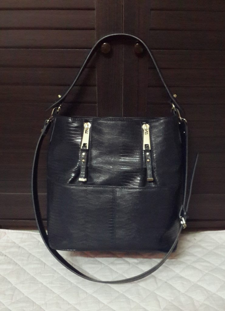 Zara Bucket Bag with Zips (Navy Blue)