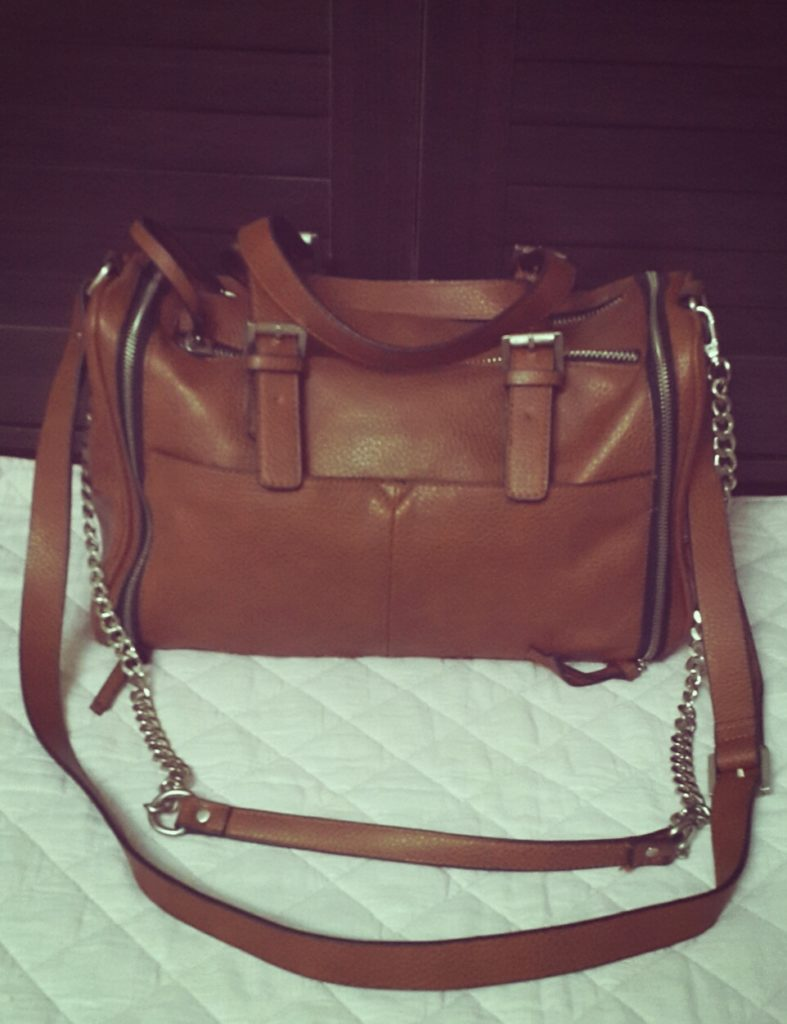 Zara Oversized Bowling Bag with Zips Brown