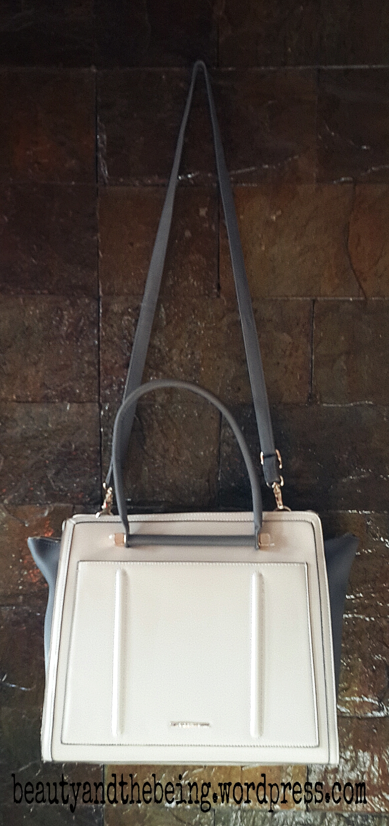 river island grey and cream winged bag