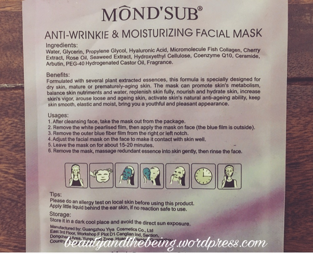 MOND'SUB Anti-wrinkle & Moisturizing Facial Sheet Mask Ingredients
