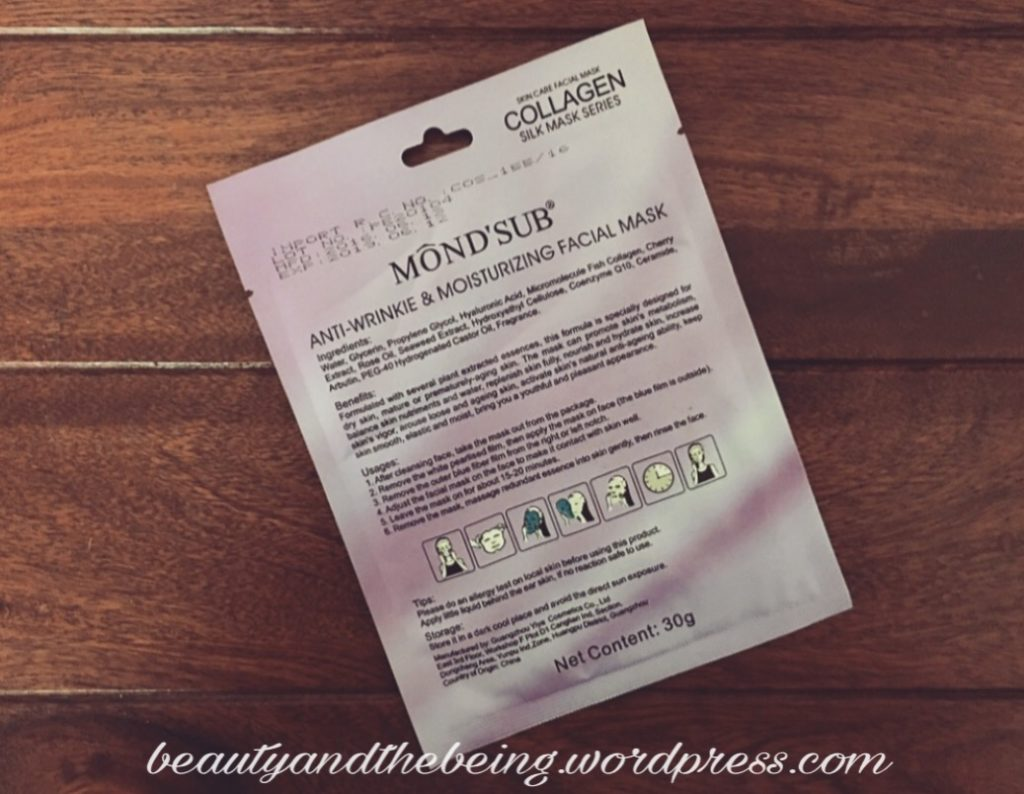 MOND'SUB Anti-wrinkle & Moisturizing Facial Sheet Mask Review