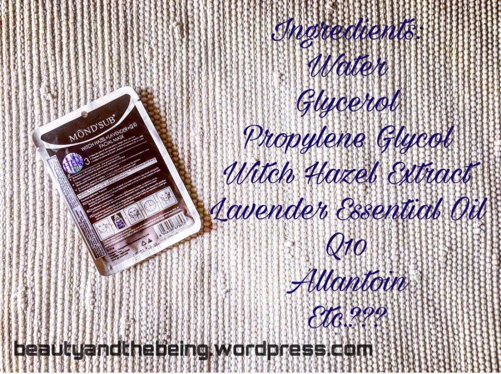Mond'sub Witch Hazel, Lavender & Q10 Facial Sheet Mask Ingredients