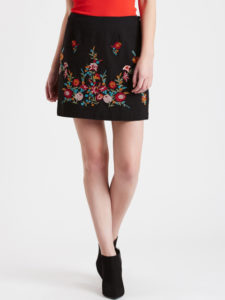 COVER STORY Black Embroidered Mini Skirt - Myntra.com