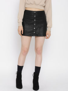 FOREVER 21 Black Faux Leather A-Line Skirt - Myntra.com