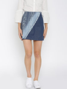 Global Desi Blue Printed Chambray Skirt - Myntra.com