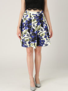 Quiz Blue & White Floral Print Flared Skirt - Myntra.com